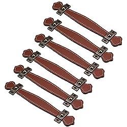 fbshop (TM) Retro estilo Learther tiradores de cajón/pomos/asas/para maletín maleta vino caja de madera armario Shoebox armario muebles Hardware, marrón, Hole distance:96mm
