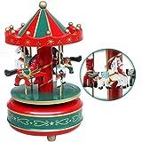 Bao Core Boite à Musique Cheval Virevoltant en Bois Décoration Maison Ouvrage Cadeau Créatif Manuel Dessin Coloré Romantique Populaire Multi-dessins