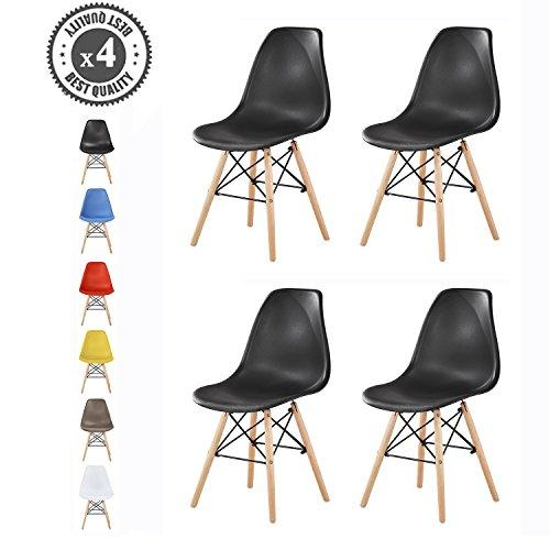 MCC Retro Design Stühle LIA im 4er Set, Eiffelturm inspirierter Style für Küche, Büro, Lounge, Konferenzzimmer etc., 6 Farben, KULT (schwarz) (Möbel Retro-küche)