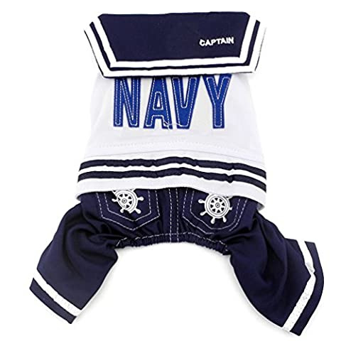 SMALLLEE_LUCKY_STORE Small Dog Pet Clothes for Girls Boys Navy Captain Sailor Costume Dog Four Legged Jumpsuits L