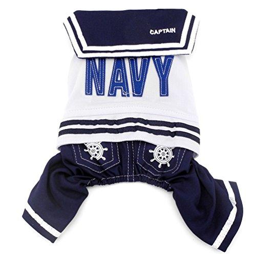 smalllee _ Lucky _ store Kleiner Hund Kleidung für Mädchen Jungen Navy Captain Sailor Kostüm Hund vierbeinigen (Vierbeinigen Kostüm Halloween)