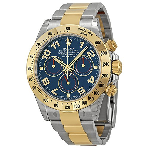 Rolex Daytona Blue Chronograph Steel and Yellow Gold Mens Watch 116523BLAO