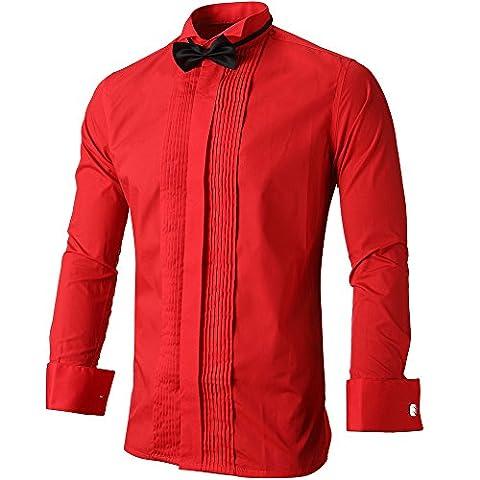 INFLATION Elegant Herren Hemd Smoking Business Langarm Hemden mit Fliege & Manschettenknöpfe Akkordeon-Faltenwurf dekoriert Slim Fit, Gr.XL, Rot