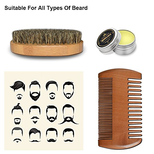 Bart Pflege Kit, Rockoala Bart Grooming Set, Handgefertigte Bart Brush + Beard Kamm + Bart Balm(30g) + Portable Tasche Geschenkbox,perfekt Als Geschenk Und Für Die Reise