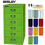 BISLEY Schubladenschrank 29 aus Metall mit 6 Schubladen | Schrank für Büro, Werkstatt und Zuhause | Stahlschrank in 11 Farben (Grün)