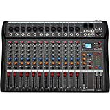 Depusheng 12 Channel Karaoke Audio Mixer Professional Bluetooth Live Studio Mixing Console Digital Audio Mixer with USB 48V