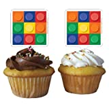 Creative Converting Block Party Kunststoff Cupcake Topper Dekorationen (12 Stück)