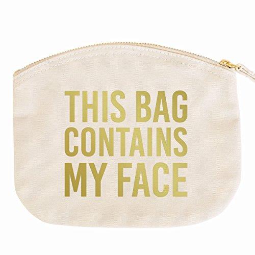 JUNIWORDS Kosmetiktasche Kulturtasche mit Reißverschluss - This Bag Contains My Face - 19 x 17 cm - Tasche: Natur - Schrift: Gold