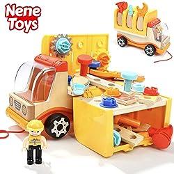 Nene Toys - Camion en Bois et Outils - Jouet Éducatif pour Fille et Garçon de 3 4 5 6 ans - Jeu de Construction et Atelier de Bricolage Méthode Montessori - Idéal comme Cadeau STEM et Didactique