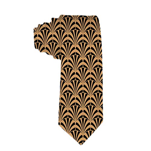 SARA NELL Handgefertigte Krawatte für Herren: Skinny gewebte Slim Krawatte Herren Thik Krawatte Art Deco Schwarz und Gold Geometrische Stil für jedes Outfit