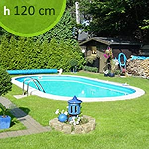 PISCINE ITALIA Kit Piscina interrata in Acciaio Ovale Skyblue Comfort 800 - h. 120 cm