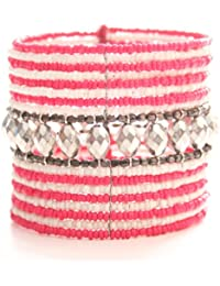 Marc Labat - 13E204 - Ethnic Chic - Bracelet Manchette Femme - Métal argenté - Perle - 6 cm
