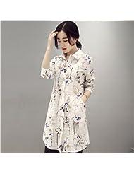Por resorte relajado Joker camiseta impresión mujeres largo Coreano manga larga camisa blanca,M,Camisa blanca de impresión