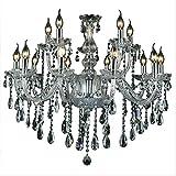 SAILUN Cristallo lampada a sospensione lampadario classico trasparente lampada a sospensione lampada da soffitto in ottone antico lampadari in cristallo 15 luci E14 (10+5 luci)