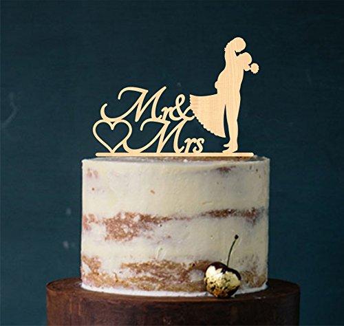 Cake Topper, Kuss, Tortenstecker, Tortefigur Acryl, Tortenständer Etagere Hochzeit Hochzeitstorte Kuchenaufstecker (Holz Natur)