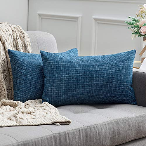 MIULEE 2er Pack Leinenoptik Home Dekorative Kissenbezug Kissenhülle Kissenbezug für Sofa Schlafzimmer Auto mit Reißverschlüsse 30x50 cm Blau (12-reißverschluss-blau)