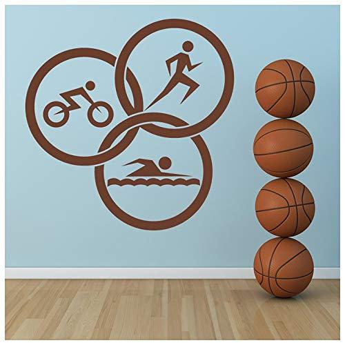 azutura Triathlon-Kreise Wandtattoo Laufen Sie Leichtathletik Wand Sticker Fitnessstudio Dekor verfügbar in 5 Größen und 25 Farben Groß Silber Metallic