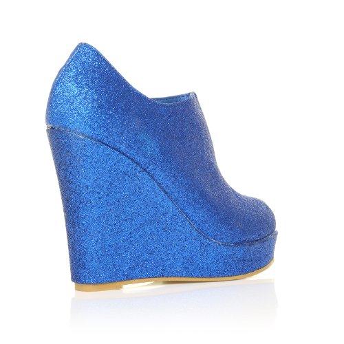 ShuWish UK - Chaussures talon compensé plateforme très haute paillette bleu H051 bleu à paillette