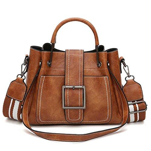 Moonuy,Damen Ledertasche, großzügige Retro-Umhängetaschen mit Corssbody Elegante Vintage Bag & Handtasche Hohe Kapazität Sattel Messenger Bags für Frauen (Braun)