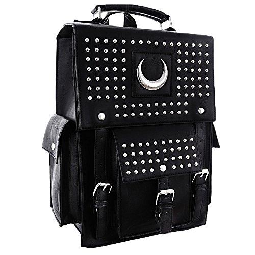 4acfa7f366650 Eckiger Nieten Rucksack Taschen Halbmond Koffer backpack schwarz Gothic  Restyle