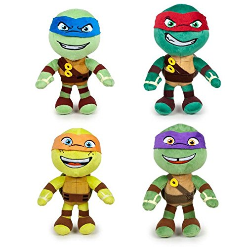 Teenage Turtle Orange Ninja Mutant (Das Teenage Mutant Ninja Turtles - Pack 4 plüsch 21cm Qualität super soft: Michelangelo (orange) + Donatello (violett) + Raphael (rot) + Leonardo)