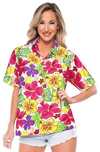 LA LEELA Frauen Hawaiihemd Bademoden Partei beiläufiger klassischer regelmäßiger Sommer Aloha XXL - DE Größe :- 50-54 Rosa_AA152 (Plus Größe Kreuzfahrt Kleider)