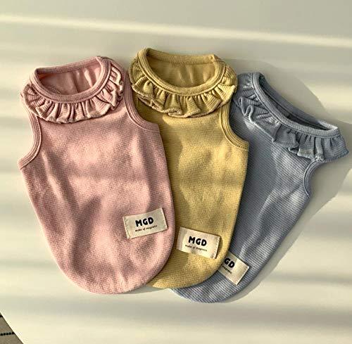 Aller Leaf-formel ([Habe] Korea Purchasing Imported pet Clothing Dog Clothes MGD Sweet Lotus Leaf Collar Sleeveless Vest@Light Yellow_S)