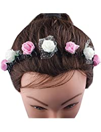 Kabello Multi Colored Flower Headband / Hair Band For Girls And Women (Pink / White)