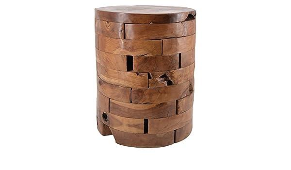 Moycor sgabello in legno tek con tronchi orizzontali