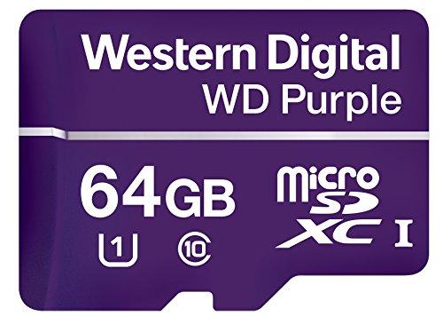 WD WDD064G1P0A Purple 64GB microSDXC Class 10 Flash Speicher zur Videoüberwachung, Uhs 1, bis 80 MB/s Lesen bis 50 MB/s Schreiben, Sda 5.0 kompatibel