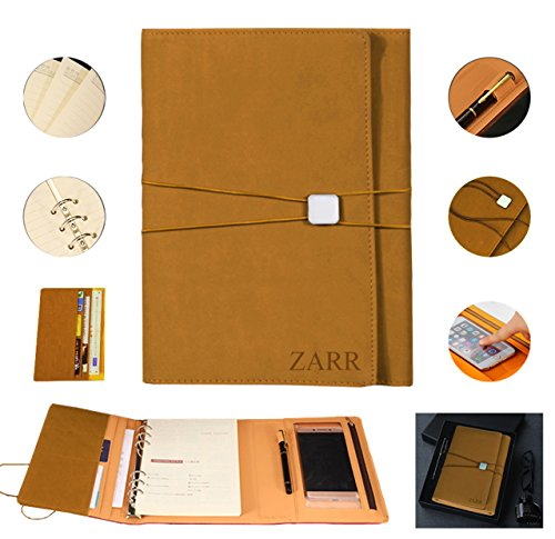 Portfolio Binder Organizer, ZARR 6-in-1 Deluxe PU Leather Business Padfolio-Document Organizer+Card Holder+Refillable A5 Writing Notepad+Pen&Holder+Zippered Phone Case with Clear Protector+Gift Box (Khaki)