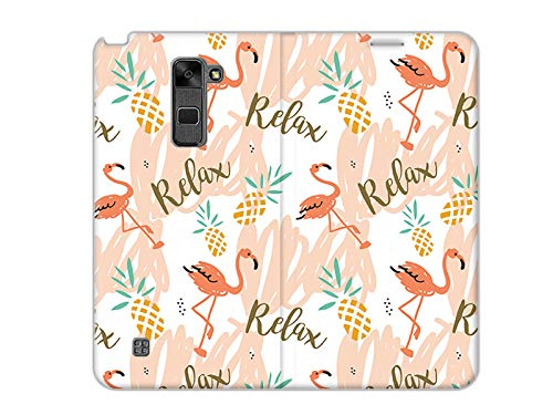 etuo Handyhülle für LG Stylus 2 Plus - Hülle, Handy Flip Case - Rosa Flamingos