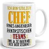 Tasse mit Spruch Stolzer Chef Eines Ungeheuer Fantastischen Teams. Hochglänzender Kaffeebecher ab 1 Stck