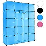 TecTake Estantería de plastico modular armario cuadrados ropero organizador con barra de colgar - disponible en diferentes colores - (Azul   No. 402088)