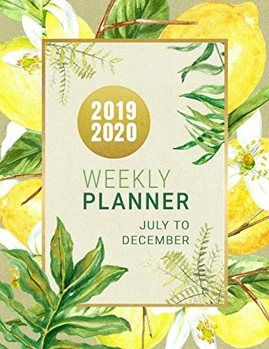 2019-2020: Lemon Planner 18 Month Weekly Monthly July 2019 - December 2020 8.5x11 - Large Artsy Calendar Organizer For Women With Notes Section + Dot Grid Pages - Tropical Fruit Palm Leaves Art Design Palm Dot