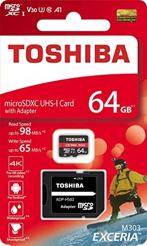Toshiba 64gb 64g exceria m303con microsd microsdxc uhs-i u3card 4k class10v30a1microsd micro sd memory card read 98mb/s write 65mb/s (thn-m303r0640a2)