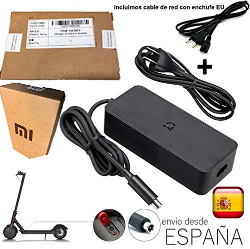 androgeek Cargador 100{eb51f3ed0d6caac9c5d86d4d5e314dbe4c8f8c96adb6a2d3f271f05b04f6bf04} Original Xiaomi Mijia M365 Patinete Scooter con Embalaje Xiaomi + Cable Red EU