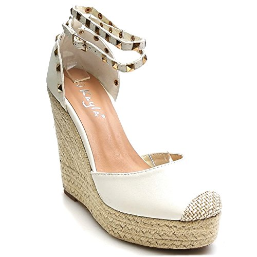 Trendige Damen Riemchen Keil Sandaletten Pumps Keilabsatz Wedges High Heels Schuhe Bequem KA1 Weiß