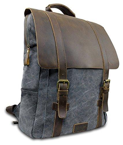 """Laptop Rucksack Retro 15"""" - Echt Leder Vintage Rucksack für die Uni, Schulrucksack oder Business - universal einsetzbar – Ein lässiger Unisex Backpack / Daypack original von My1St™ (Dunkel-Grau)"""