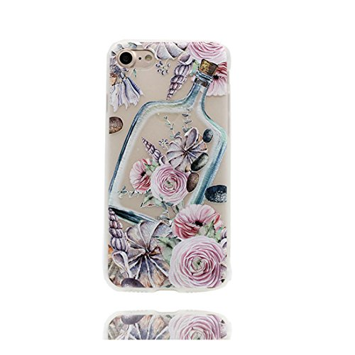 Custodia iPhone 7 Plus, Silicone trasparente Cartoon Stile del modello Case materiale di alta qualità & morbido & & Ultra sottile iPhone 7 Plus copertura 5.5 Graffi Prova / conghiglia fiore Bottle Stylish fiore Bottle