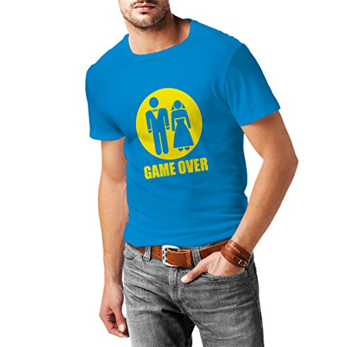 N4015 T-shirt da uomo Game over funny wedding tee, fruit of the loom, humorous stamps,funny gift for hangover Azzurro Giallo