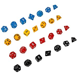 Andux Polyhedral Dice Sets Juego de mesa Dungeons and Dragons DND RPG MTG Juegos de mesa Dices 4 x 7 (28 piezas) TZTZ-01