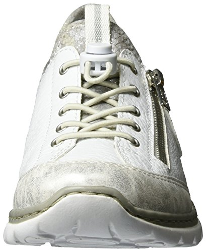 Rieker L3263, Scarpe da Ginnastica Basse Donna Bianco (Ice/weiss/argento/silverflower / 80)