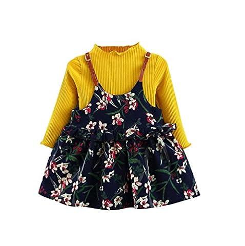 Kangrunmy VêTements De Robe De Enfants BéBé Filles Sangle Florale Pull Tricoté Tops + Jupe Tenues Outfits Manches Longues Hiver Automne Mignon Costume Jaune (3 ans)