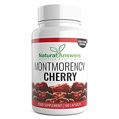 Montmorency Cherry 3 Month Supply 180 Vegetarian Capsules Max Strength Freeze Dried Montmorency Cherry Safe And Effective Best Selling Manufactured In The UK by Natural Answers