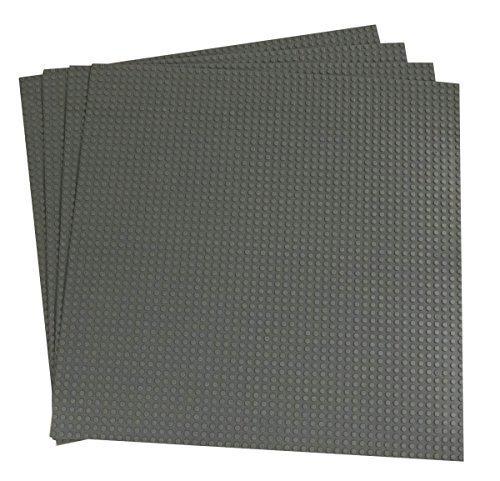 """Bauplatten - kompatibel mit allen führenden Marken - Set aus 4 Platten - je 15,75"""" x 13,25"""" (40 x 33,6 cm) - Grau"""