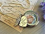 Chaîne ARGENT STERLING Collier photo médaillon Pendentif coeur gravé collier d'ange gardien bijoux commémoratifs pour les femmes...