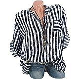 GJKK Bluse Damen Herbst Shirt Beiläufige Streifen Gedruckt Blusen Revers Kragen übersteigt T-Shirt Hemden Sweatshirt Tops Oberteil Langarmshirt Tunika(S-5XL)