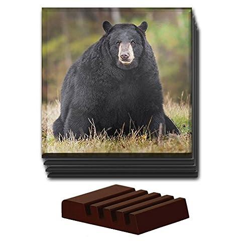 Black Bear Cub Tier-Set von 4Glas Untersetzer aus Holz Halter