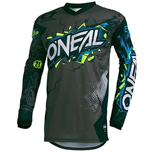O'Neal Element Villain Kinder Jersey Motocross MTB Mountain Bike Trikot Enduro MX FR DH Kids, 002E-9-Youth, Farbe Grau, Größe M (Bikes Kind)